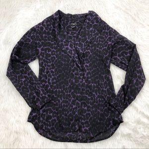 Ann Taylor Plum Black Cheetah Print Ruffle Blouse